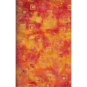 Anthology Batik 6158 - Yellow/Orange Circles & Squares on a Yellow/Orange Background