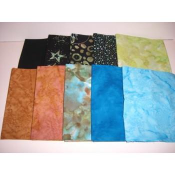10 Batik Textiles Fat Quarter Bundle BT10FQ5 - Turquoise/Gold/Green/Black Tones