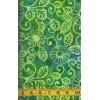 Michael Miller Floral Fling Batik in Caribbean - Lime Green Flowers & Leaves on Blue Green Background