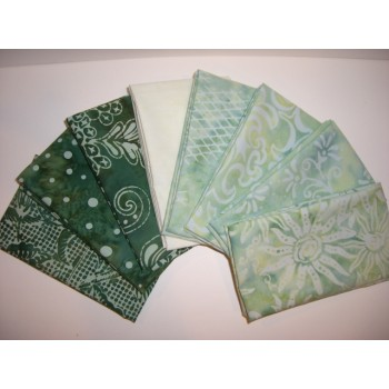 Crazy 8's Fat Eighth Bundle - 8 Green/Yellow Tone Batiks