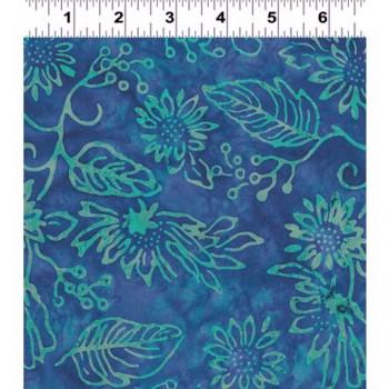 Clothworks Batik FB018-30 - Turquoise Flowers/Leaves on a Blue Purple Background