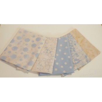 Five Anthology & Batik Textiles Batik Fat Quarters 514 - Light Blue & Cream Tones