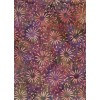 Batik Textiles 1822 - Pale Pink Flowers on a Purple, Green, Blue and Gold Background