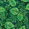Clothworks Batik FB005-22 - Bright Green Leaf Clusters on a Dark Green Background