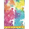 Island Batik County Fair 111511205 - White Dancing Reindeer on a Bright Multi Color Background