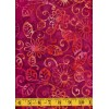 Michael Miller Floral Fling Batik in Jewel - Orange Flowers & Leaves on Magenta