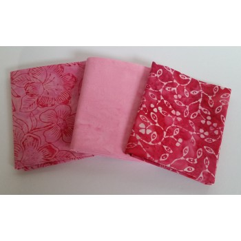 Batik Half Yard Bundle HY306 - Pink Tones - 1 1/2 Yards Total