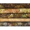 Five Batik Fat Quarters TE - Brown/Green/Tan/Burgundy Tones