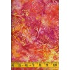 Benartex Batik 03675-33 - Pink, Orange & Yellow Stitched Flower Batik