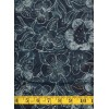 Benartex Batik - 03765-12 - Gray Floral Pattern on a Gray Black Background