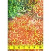 Fabrics That Care Batik 2045 Yellow, Green & Tan Circles on Green and Orange