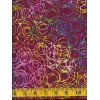Henry Glass Batik 8650-89 - Pink, Blue, Yellow and Green Scribbles on Red
