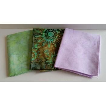 Three Anthology Batik Fat Quarters 349A - Green & Lavender Tones