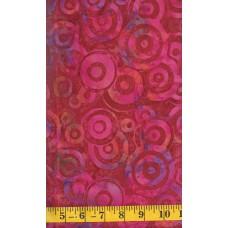 Batik Textiles 2438 - Pink Red Circles on a Red Orange Background