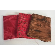 Three Batik Fat Quarters 302B - Brown & Red Tones