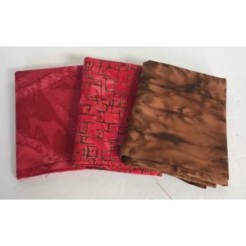Three Batik Fat Quarters 302B - Brown & Red Tones