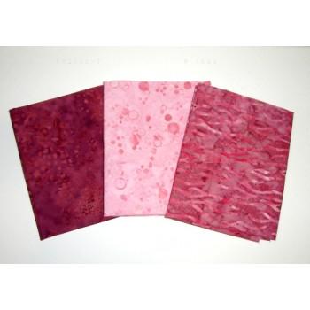 Three Anthology & Cantik Batik Fat Quarters 303A - Pink & Mauve Tones