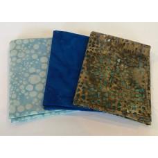 Three Batik Fat Quarters 304B - Brown & Blue Tones