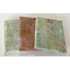 Three Batik Fat Quarters 310B - Green, Aqua & Mauve Tones