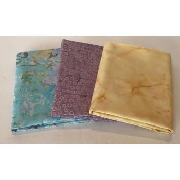 Three Batik Fat Quarters 312B - Light Turquoise, Purple & Creamy Yellow Tones