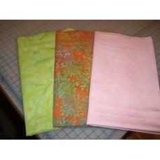 Three Anthology Fat Quarters Set 367- Orange/Green/Pink Tones