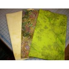 Three Anthology Fat Quarters Set 372- Green & Cream Tones