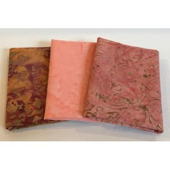 Three Batik Fat Quarters 376A - Peach, Gold & Mauve Tones
