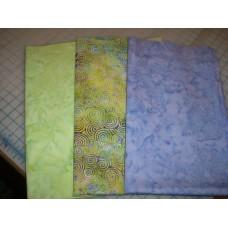Three Anthology & Island Batik Fat Quarters 379 - Green/Purple Tones