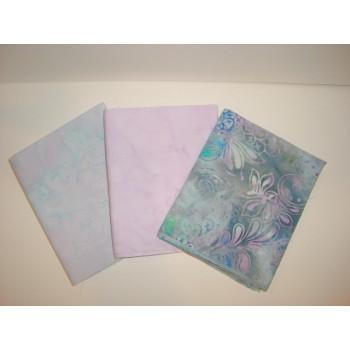 Three Anthology & Batik Textiles Fat Quarters 382 - Pink/Blue/Green/Gray Tones