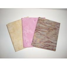 Three Anthology Batik Fat Quarters 386 - Tan, Pink & Cream Tones