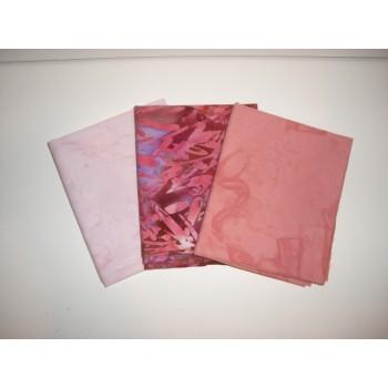 Three Anthology Batik Fat Quarters 387 - Peach, Pink & Rust Tones