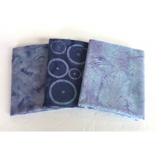 Three Batik Fat Quarters 387A - Purple & Blue Tones