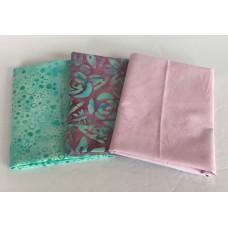 Three Batik Fat Quarters 388A - Pink & Aqua Tones