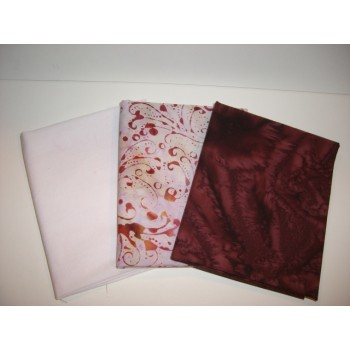 Three Anthology Batik Fat Quarters 391 - Pink & Burgundy Tones