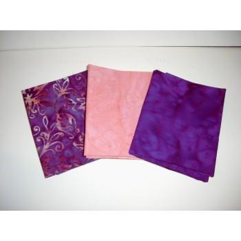 Three Anthology Batik Fat Quarters 397 - Purple & Peach Tones