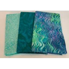 3 Yard Batik Bundle 3YD11 - Teal, Aqua and Blue Tones