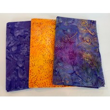 3 Yard Batik Bundle 3YD12 - Purple & Orange Tones