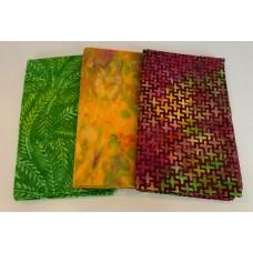 3 Yard Batik Bundle 3YD14 - Green, Orange & Magenta Tones