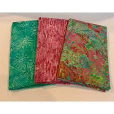 3 Yard Batik Bundle 3YD16 - Green & Pink Tones