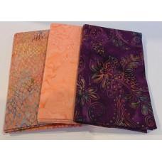 3 Yard Batik Bundle 3YD21 - Purple & Peach Tones