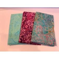 3 Yard Batik Bundle 3YD24 - Green & Pink Tones
