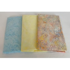 3 Yard Batik Bundle 3YD28 - Pastel Tones - Blue, Yellow and Peach