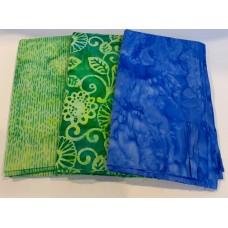 3 Yard Batik Bundle 3YD29 - Green & Blue Tones