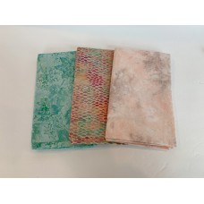 3 Yard Batik Bundle 3YD31 - Green, Peach, Mauve & Tan Tones