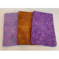 3 Yard Batik Bundle 3YD34 - Purple & Gold Brown Tones