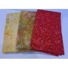 3 Yard Batik Bundle 3YD37 - Red, Gold & Yellow Tones