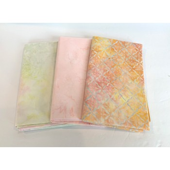 3 Yard Batik Bundle 3YD42 - Pastel Peach, Yellow & Green Tones