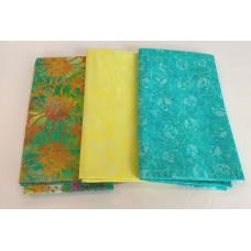 3 Yard Batik Bundle 3YD44 - Turquoise, Yellow, Orange & Pink Tones