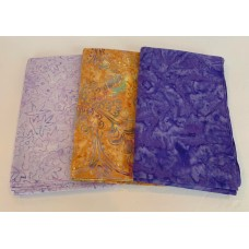 3 Yard Batik Bundle 3YD45 - Purple & Gold Tones