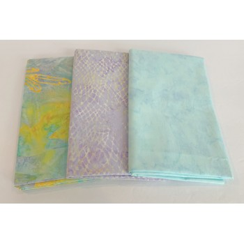 3 Yard Batik Bundle 3YD46 - Aqua, Lavender & Gold Tones